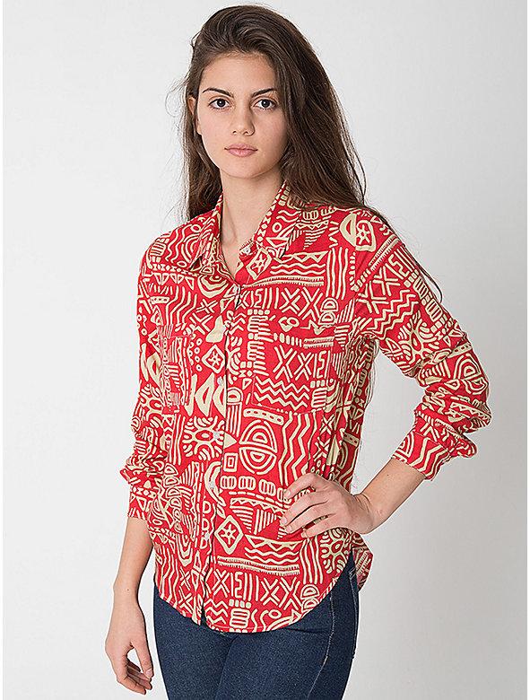 Tropical Print Basic Rayon Button Up Blouse