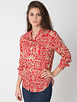 Tropical Print Basic Rayon Button Up Blouse