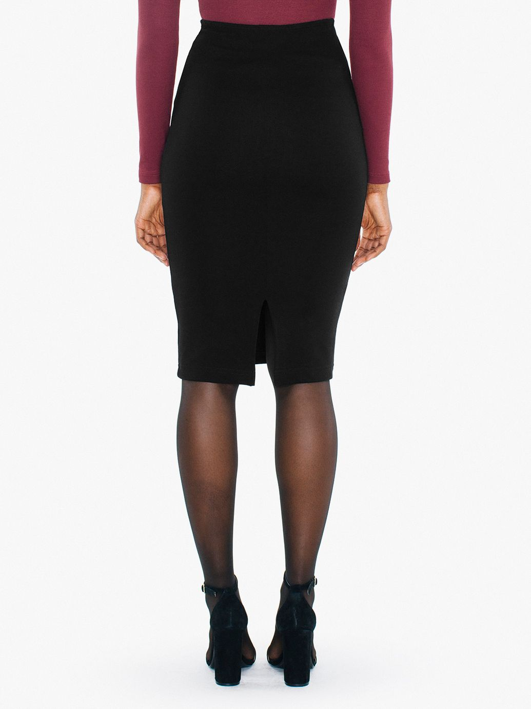 Ponte Mid-Length Pencil Skirt | American Apparel