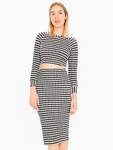 Houndstooth Mid-Length Pencil Skirt
