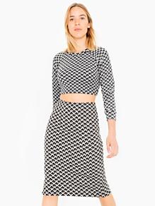 Jacquard Mid-Length Pencil Skirt