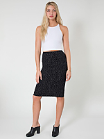 Polka Dot Print Ponte Mid-Length Pencil Skirt