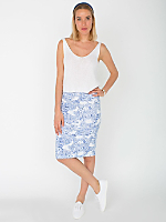 Floral Print Ponte Mid-Length Pencil Skirt