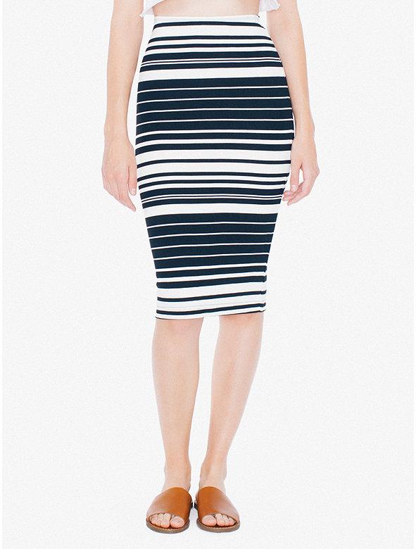 American Apparel Womens Striped Ponte Mid-Length Pencil Skirt in Salem Stripe