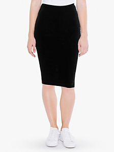 Velvet Mid-Length Pencil Skirt