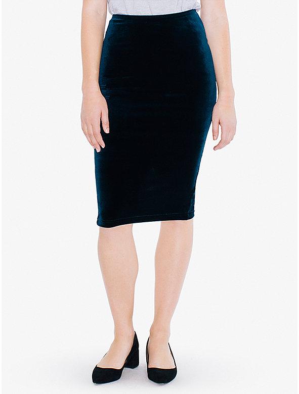 Velvet Mid-Length Pencil Skirt