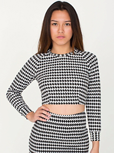Houndstooth Long Sleeve Crop Raglan Sweater