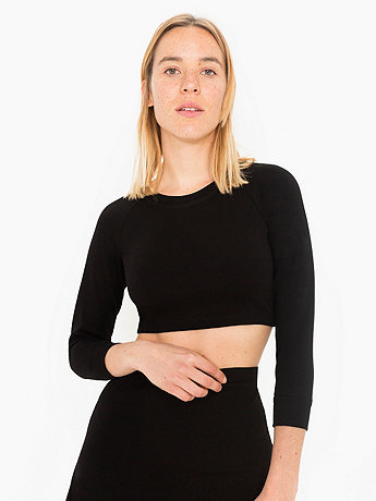 Solid Long Sleeve Ponte Crop Raglan Sweater