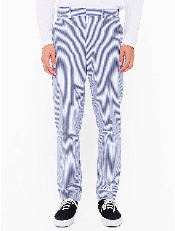Stripe Poly-Cotton Welt Pocket Pant