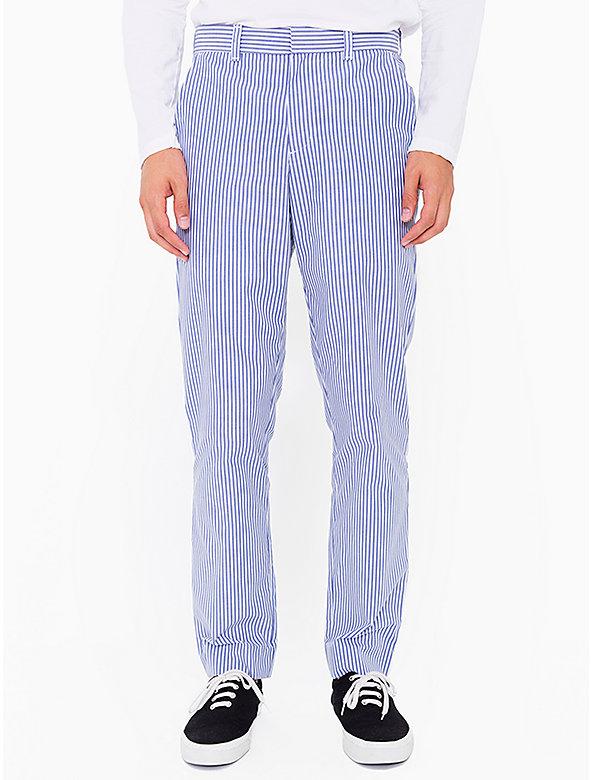 Stripe Poly-Cotton Welt Pocket Pant