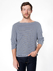 Stripe Long Sleeve Boat Neck Shirt