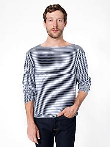 Stripe Long Sleeve Boat Neck Shirt