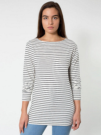 Unisex Stripe Long Sleeve Boat Neck Shirt