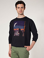 Manhattan Cat Screen Printed Drop-Shoulder Sweater