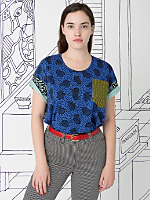 Nathalie Du Pasquier Unisex Zeta Mix Print Le New Big Pocket T-Shirt