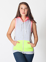 Unisex Color Block Sleeveless Zip Hoodie