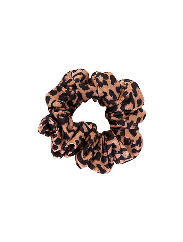 Shiny Peach Cheetah Nylon Tricot Scrunchie