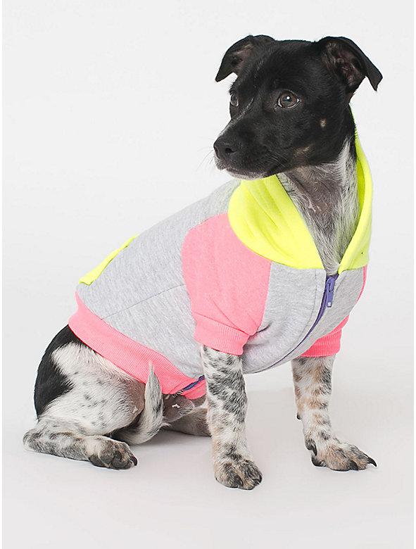 Orchid Grey Neon Green Flex Fleece Color Block Dog Hoodie