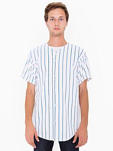 Pinstripe Thick Knit Jersey Baseball Tee