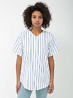 Unisex Pinstripe Thick Knit Jersey Baseball Tee