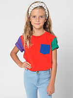 Colorblock Kids Fine Jersey Short Sleeve Pocket T-Shirt