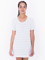 Fine Jersey Stripe Short Sleeve Crew Neck T-Shirt Dress