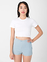 Fine Jersey Short Sleeved Cropped T-Shirt