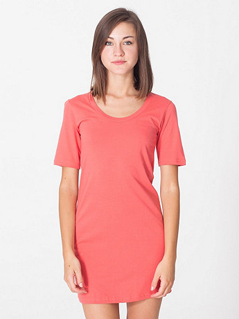 Organic Fine Jersey Short Sleeve Crew Neck T-Shirt Dress