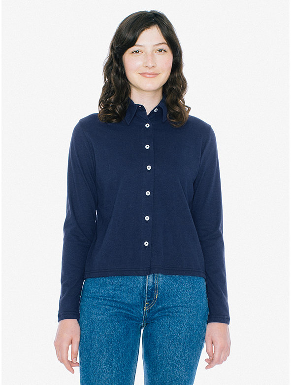 Fine Jersey Long Sleeve Button Up