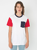 Unisex Power Washed Color Block Pocket Tee