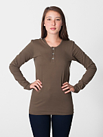 Unisex Fine Jersey Long Sleeve Placket Henley