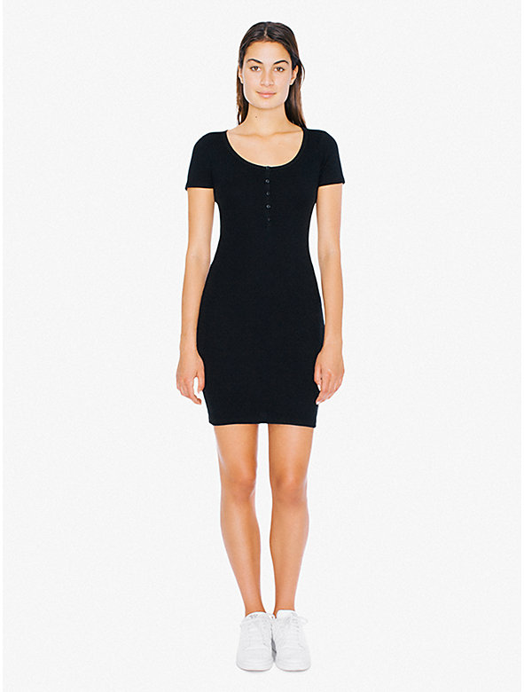 2x1 Rib Short Sleeve Henley Mini Dress