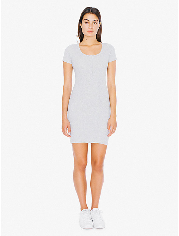 2x1 Rib Short Sleeve Henley Mini Dress