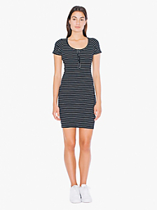 Striped Short Sleeve Henley Rib Dress