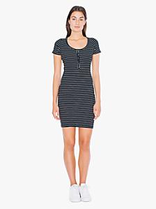 Striped Short Sleeve Henley Rib Dress