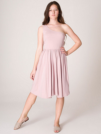 Baby Rib One-Shoulder Dress