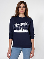 Unisex New York Screen Printed California Fleece Drop-Shoulder Pullover