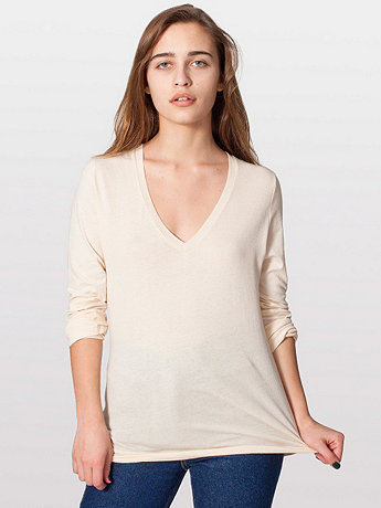 Sheer Jersey Long Sleeve V-Neck