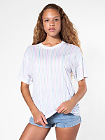 Sheer Jersey Rainbow Stripe T-Shirt