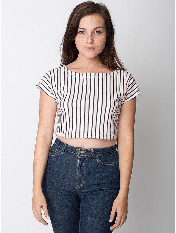 Stripe Interlock Zip Shoulder Crop Top