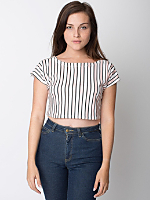 Stripe Interlock Zip Shoulder Crop Top