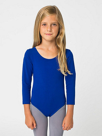 Kids' Cotton Spandex Long Sleeve Leotard