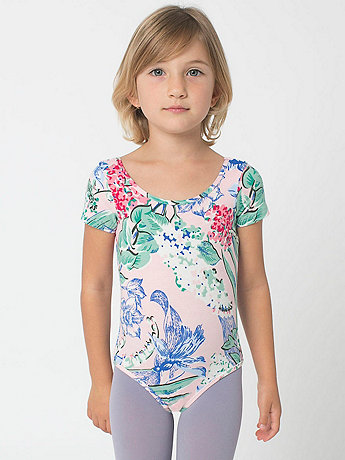 Kids' Floral Printed Cotton Spandex Jersey Short Sleeve Leotard