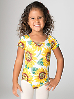 Kids Floral Printed Cotton Spandex Jersey Short Sleeve Leotard