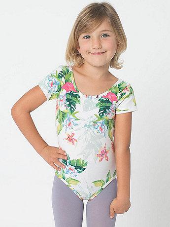 Kids Floral Printed Cotton Spandex Jersey Short Sleeve Leotard