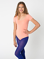 Youth Cotton Spandex Jersey Short Sleeve Leotard