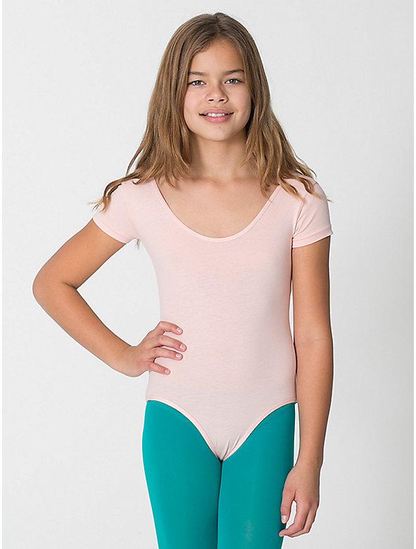 Youth Cotton Spandex Jersey Short Sleeve Leotard