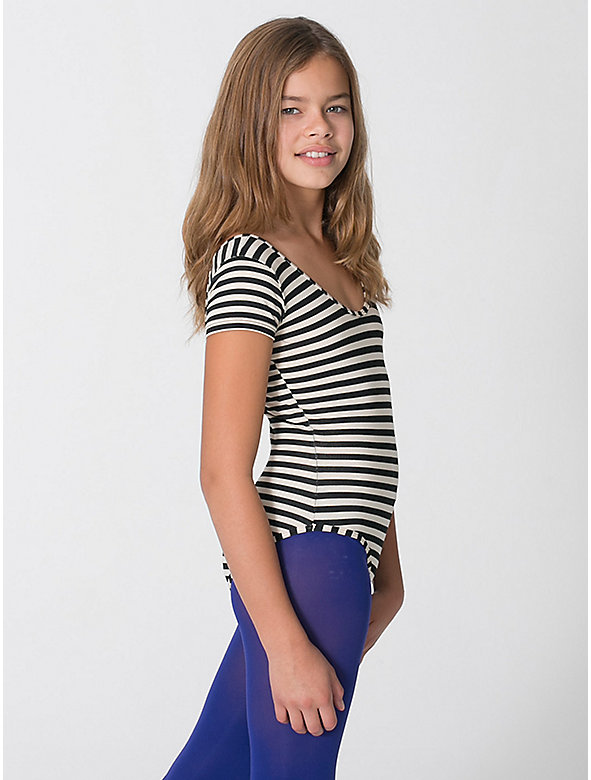 Youth Printed Cotton Spandex Jersey Short Sleeve Leotard