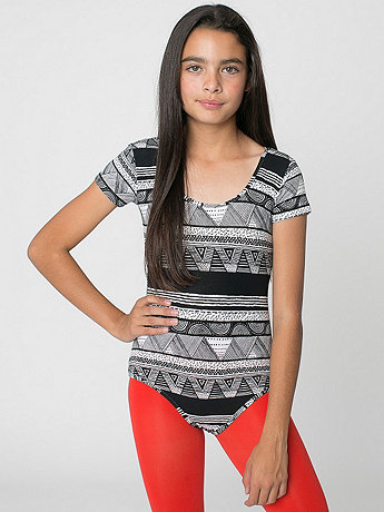 Youth Afrika Printed Cotton Spandex Jersey Short Sleeve Leotard