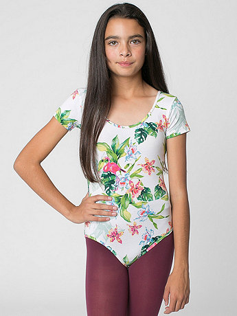 Youth Floral Printed Cotton Spandex Jersey Short Sleeve Leotard